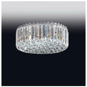 Plafon de Cristal Transparente e estrutura Redonda de Aço Cromado 15 Lâmpadas - Old Artisan