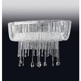 Plafon Moderno de Cristal Transparente e estrutura Oval de Aço Cromado 11 Lâmpadas - Old Artisan