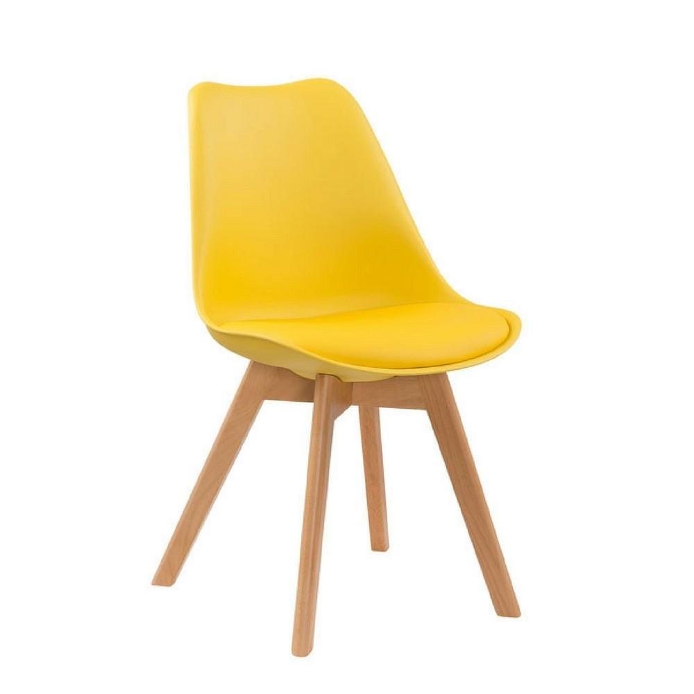Cadeiras 4 Pés Em Madeira Eames DKR Amarela - Desingchair