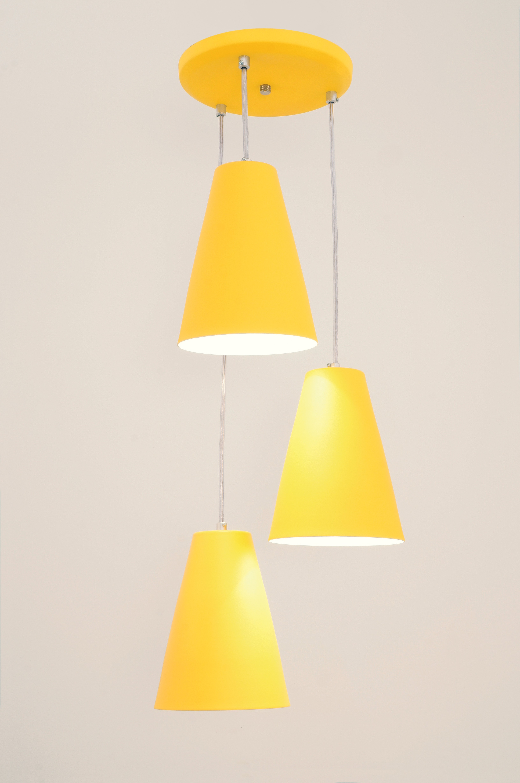 Pendente Cadiz 3 Lâmpada Amarelo - Auremar