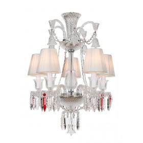Lustre de Cristal Baccarat Transparente 5 lâmpadas com Cúpula Branca