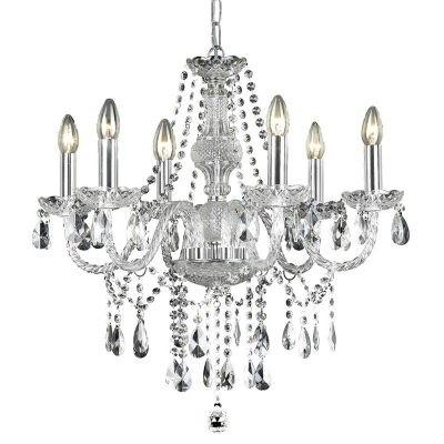 Lustre Dynastie Cristal Transparente Metal Cromado 6 Lâmpadas - Pier