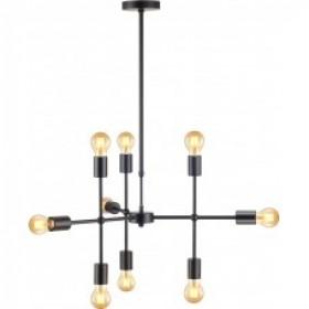 Pendente Moderno Estrutura em Aço Preto Hash 9 Lampadas - Avant