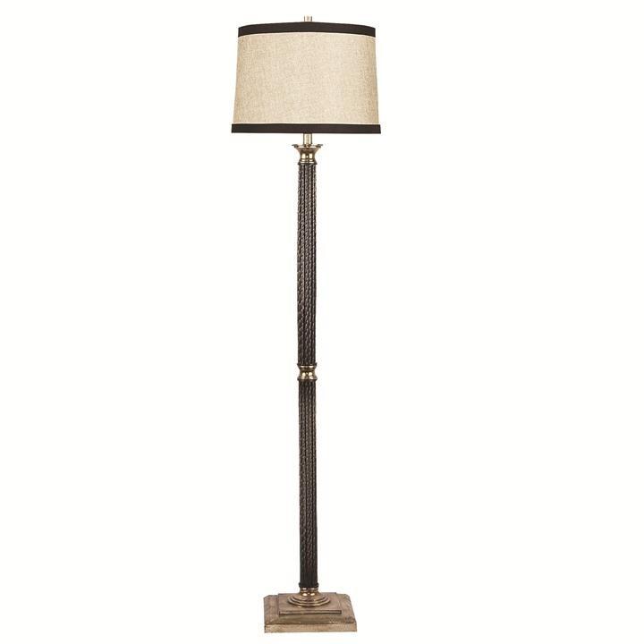 Coluna de Metal com Cúpula de Tecido em Ouro Envelhecido 1 lâmpada Inpavese - Luciin