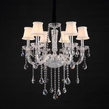 Lustre de Aço Cromado de Vidro, Cúpula e Cristal 6 Lâmpadas +Luz Iluminação