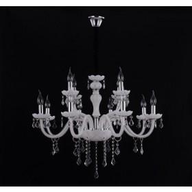 Lustre de Cristal Candelabro Estilo Maria Thereza 12 Lampadas White Snow - Tupiara