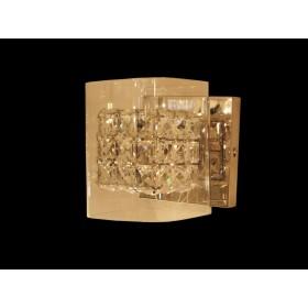 Arandela de Cristal Transparente Com Estrutura em Metal Cromo 1 Lâmpada - Frontier