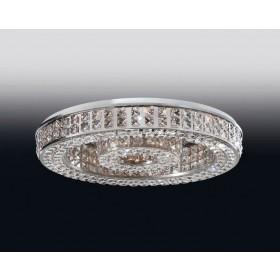 Plafon Aliança de Cristal Transparente e estrutura Redonda de Aço Cromado 15 Lâmpadas - Old Artisan