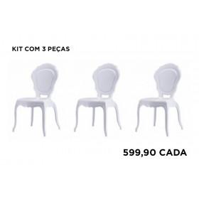 Kit com 3 Cadeiras Policarbonato Luis XV Princess sem Braços Branca