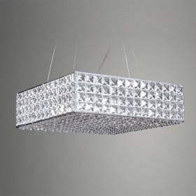 Pendente Quadrado Cristal Cromado 5 Lâmpada -GoldenArt