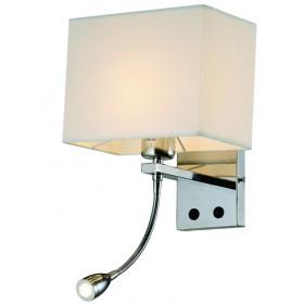 Arandela de Leitura Cúpula Quadrada 1 Lampada E-27 e uma Lampada de Led