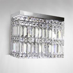 Arandela Rentangular Cristal Lapidado 1 Lâmpada - Goldenart