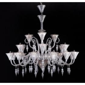 Lustre de Cristal Candelabro Maria Thereza Transparente 21 Lâmpadas Donatela Home Design Pier