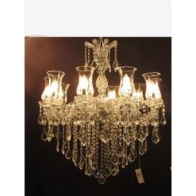 Lustre de Cristal Dourado com Braço de Acrílico Transparente 10 Lâmpadas - Frontier
