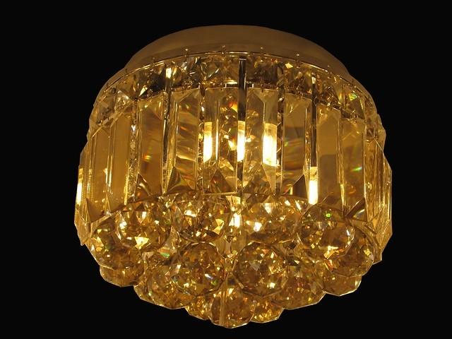Plafon de Cristal Conhaque com Estrutura em Metal Cromado 4 Lampadas - Frontier