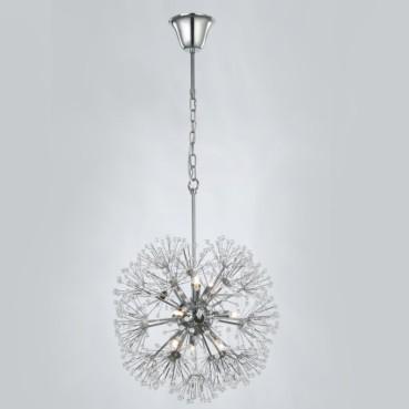 Pendente Fibbra de Aço Cromado e Cristais 9 Lâmpadas +Luz Iluminação