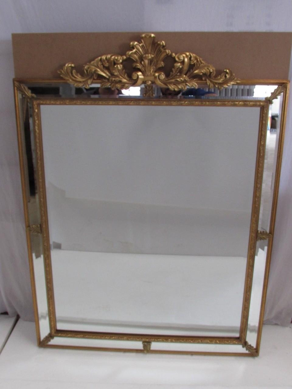 Espelho Retangular Com Detalhes Dourados e Folhas - Frontier