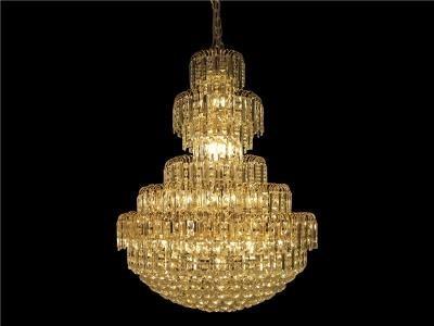 Lustre Pendente Imperial de Cristal Dourado 24 Lâmpadas - Frontier