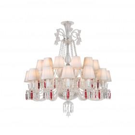 Lustre de Candelabro de Cristal Baccarat Transparente 24 lâmpadas com Cúpula Branca
