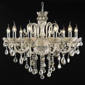 Lustre Candelabro de Cristal Estilo Maria Threza Conhaque 10 Lâmpadas +Luz Iluminação