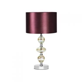 Abajur de Vidro em Cromo com Cúpula de Cetim Bordô 1 lâmpada Inmarmi - Luciin