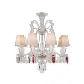 Lustre de Cristal Baccarat Transparente 8 lâmpadas com Cúpula Branca