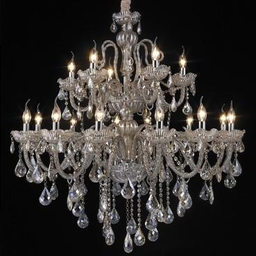 Lustre de Aço Cromado de Vidro e Cristal Conhaque 18 Lâmpadas +Luz Iluminação