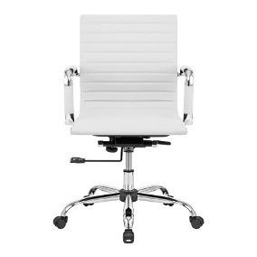 Cadeira Diretor Base Giratória Cromada Eames Office Branca -Desingchair