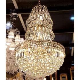 Lustre Imperial de Cristal Transparente e Estrutura Dourada 19 Lâmpadas - Frontier