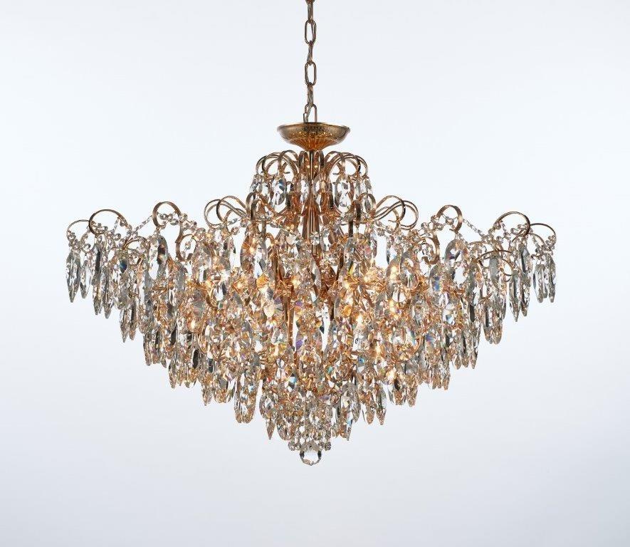 Lustre Pendente Plafon de Cristal Transparente Estrutura Dourada Bemmel 12 Lampadas - Tupiara