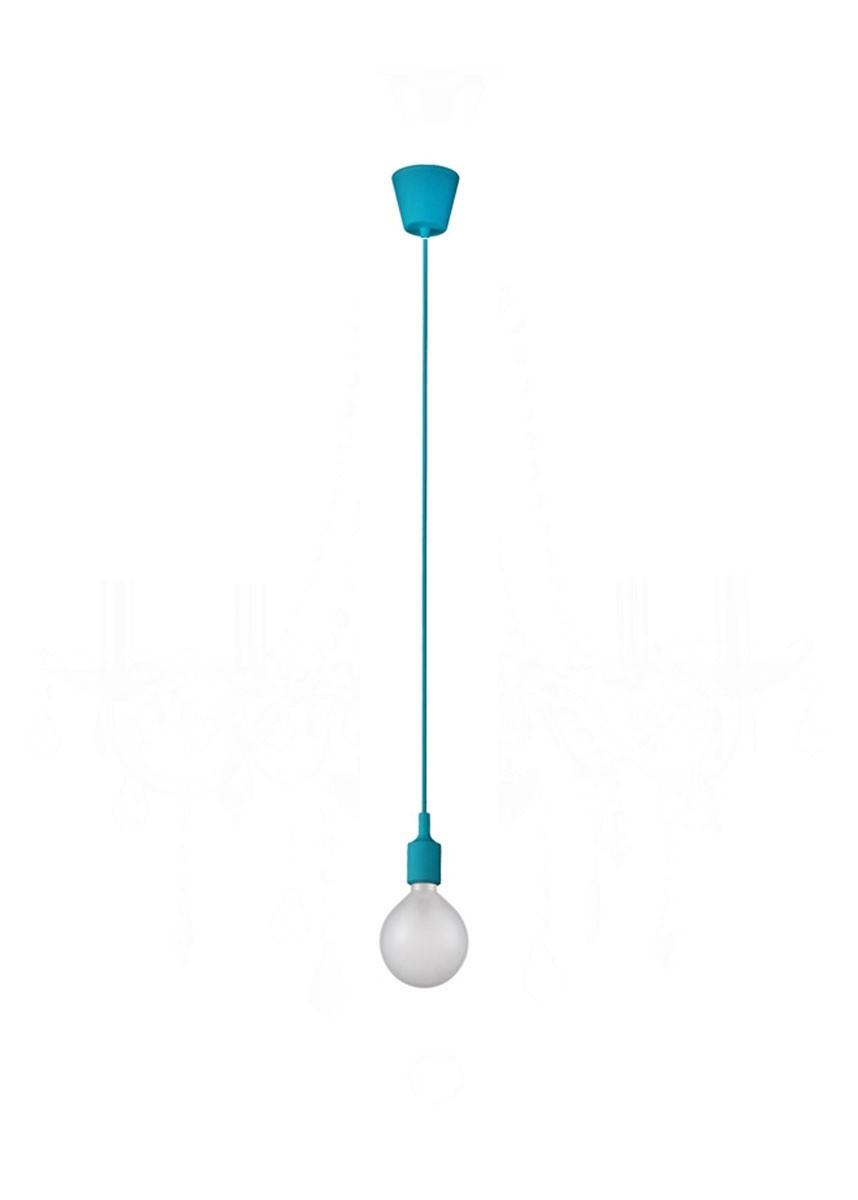 Pendente Colors Fio e Acabamento Emborrachado Azul 1 Lâmpada