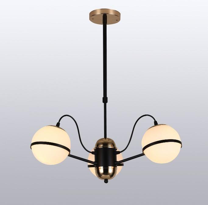 Pendente Metal e Vidro Preto Cromado Dourado 3 Lâmpada -Sindora