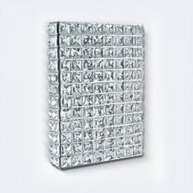 Arandela Interna retangular Aluminio cristal 1 Lâmpada - Goldenart
