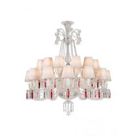 Lustre de Cristal Baccarat Transparente 24 lâmpadas com Cúpula Branca