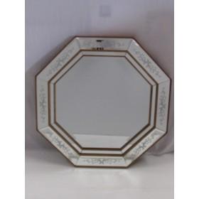Espelho Octógono moldura com detalhes Dourados - Frontier