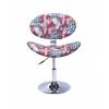 Cadeira Decorativa Bela Giratória com Base Disco Cromada Bandeira