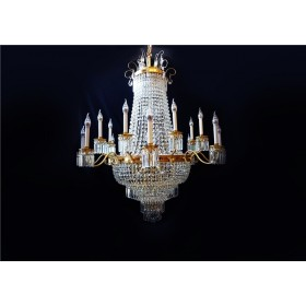 Lustre Imperial de Bronze e Cristal 21 Lâmpadas - Frontier