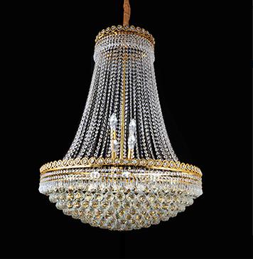Lustre de Cristal 18 Lâmpadas Dourado FT Elizabeth