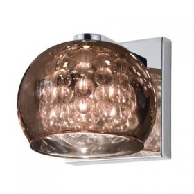 Arandela Soho com Cupula Cobre e Cristal Transparente 1 Lampada - Bella