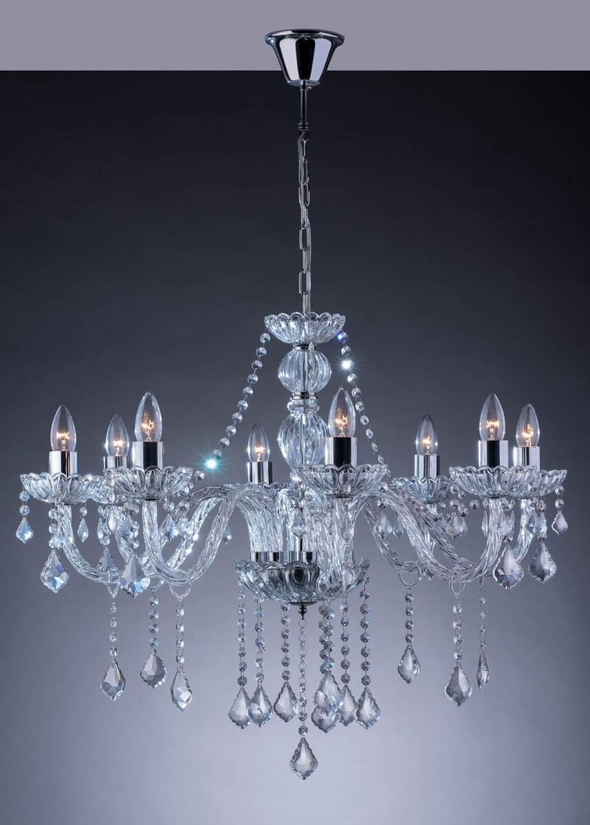 Lustre de Cristal Transparente 8 Lâmpadas Nice - Startec