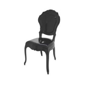 Cadeira Policarbonato Luis XV Princess sem Braços Preta
