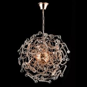 Pendente de Aço Ouro Rosé de Cristal 12 Lâmpadas +Luz Iluminação