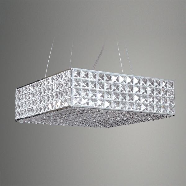 Pendente Retângulo Cristal Cromado 5 Lâmpada -GoldenArt