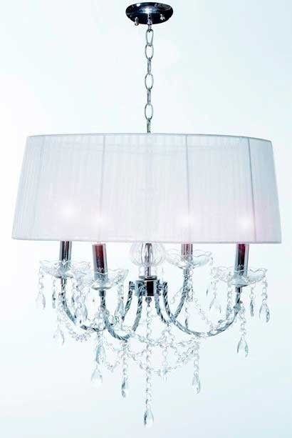 Lustre de cristal com 4 lâmpadas cúpula branco VG