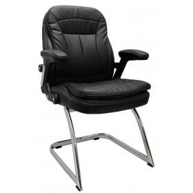 Cadeira Diretor Designchair Base Fixa Relax Confort Cromada Preta