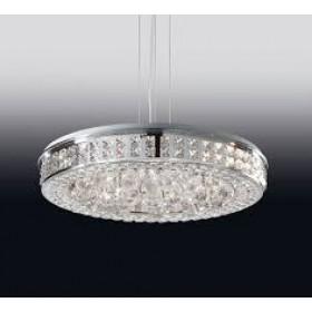 Pendente Moderno de Cristal Transparente e Estrutura Redonda 12 Lâmpadas LED Embutido - Old Artisan