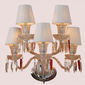 Arandela Candelabro de Cristal Branca com Cúpula 5 Lâmpadas Baccarat