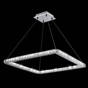 Pendente de Aço Cromado com Detalhe em Cristal Led Integrado 36W +Luz Iluminação