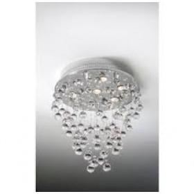 Plafon Moderno de Cristal Transparente e estrutura Redonda de Aço Cromado 7 Lâmpadas - Old Artisan