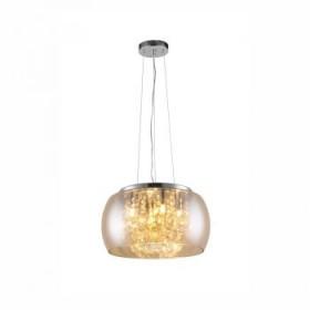 Pendente Moderno com Cúpula de Vidro Espelhado Champagne e Cristal Transparente 9 Lampadas - JLR